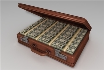 briefcase of money 3d model 3ds c4d texture 109259