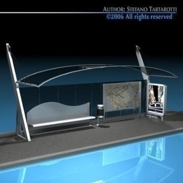 bus stop 3 3d model 3ds dxf c4d obj 77639