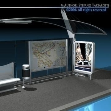 bus stop 3 3d model 3ds dxf c4d obj 77641