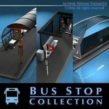 bus stop collection 3d model 3ds dxf c4d obj 77645