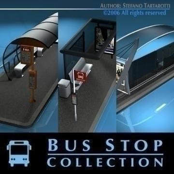 autobusno stajalište kolekcija 3d model 3ds dxf c4d obj 77645