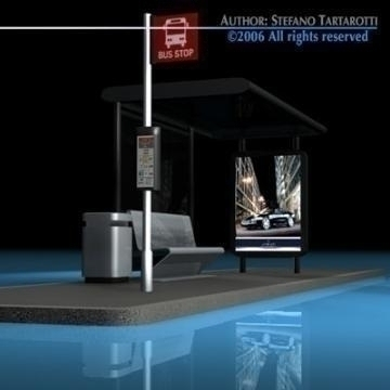 bus stop collection 3d model 3ds dxf c4d obj 77647