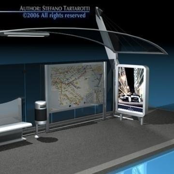 bus stop collection 3d model 3ds dxf c4d obj 77650