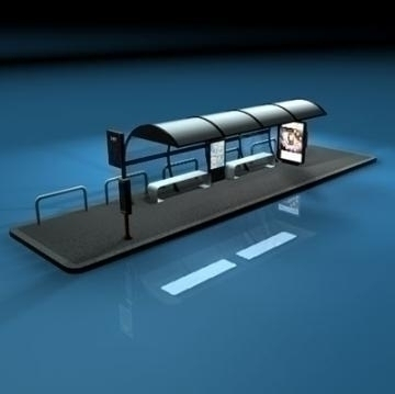 bus stop1 3d model 3ds dxf c4d obj 77622