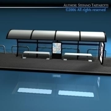 bus stop1 3d model 3ds dxf c4d obj 77623