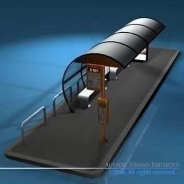 bus stop1 3d model 3ds dxf c4d obj 77625