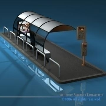 bus stop1 3d model 3ds dxf c4d obj 77626