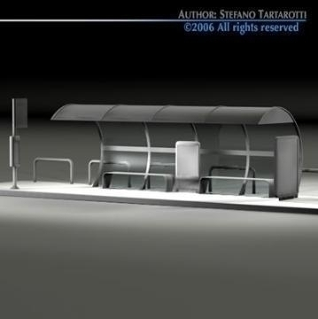 bus stop1 3d model 3ds dxf c4d obj 77630