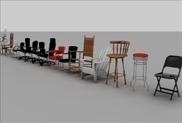 chair assortment 3d model 3ds c4d texture 86896