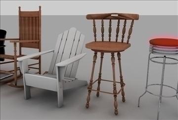 krēslu sortiments 3d modelis 3ds c4d tekstūra 86897