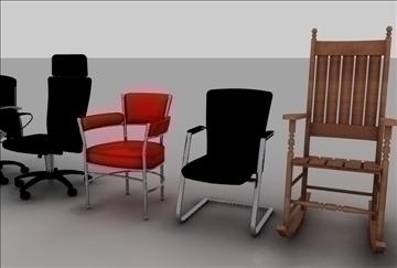 krēslu sortiments 3d modelis 3ds c4d tekstūra 86898