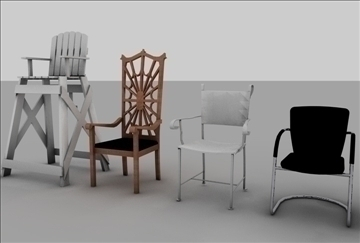 krēslu sortiments 3d modelis 3ds c4d tekstūra 86900