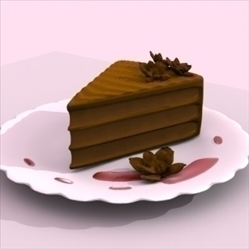 chocolate layer cake slice on plate 3d model fbx lwo other obj 98684