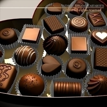 chocolate valentine box 3d model 3ds dxf c4d obj 86732