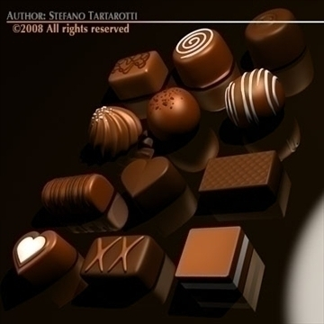 chocolates 3d model 3ds dxf c4d obj 86726