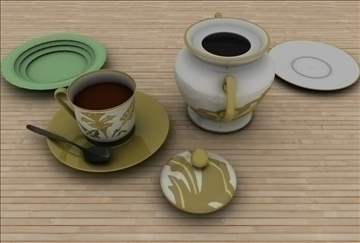coffee scene 3d model 3ds c4d texture 86885