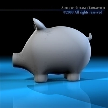 coin pig 3d model 3ds dxf c4d obj 88430