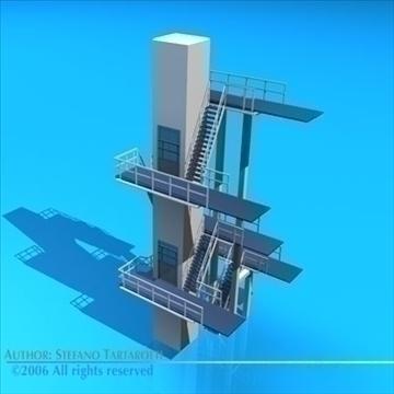 diving tower 3d model 3ds dxf c4d obj 82584