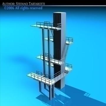 diving tower 3d model 3ds dxf c4d obj 82586