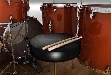 drum set 3d model 3ds c4d texture 109284