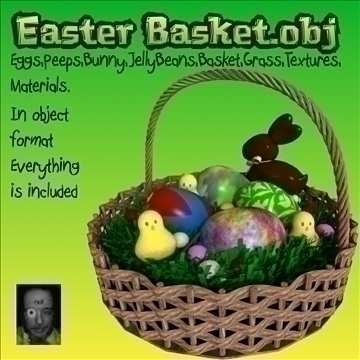 easter basket.obj 3d model obj 104717