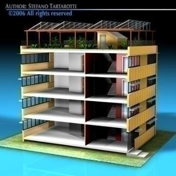 ecological building cutaway 3d model 3ds dxf c4d obj 78509