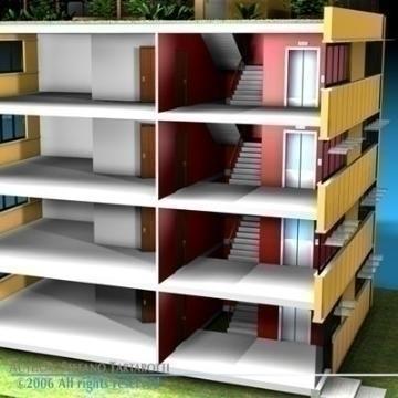 ecological building cutaway 3d model 3ds dxf c4d obj 78513