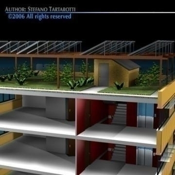 ecological building cutaway 3d model 3ds dxf c4d obj 78514