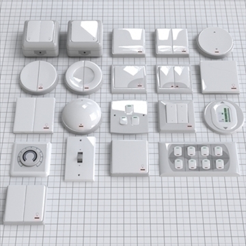 electrical switches pack 3d model 3ds blend lwo lws lw  obj 111025