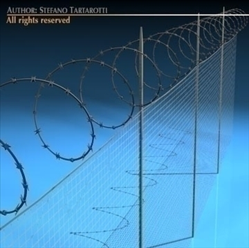 fence with barbed wire 3d model 3ds dxf c4d obj 99538