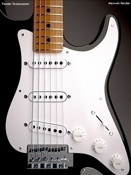 fender stratocaster eric clapton edition 3d model 3ds max dxf dwg texture obj 112148