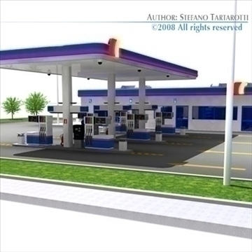 gas station 3d model 3ds dxf c4d obj 88355