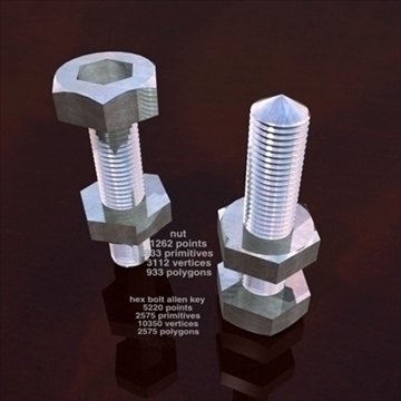 hex bolt allen 3d model 3ds dxf obj 96157 lain