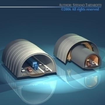 highway tunnels cutaway 3d model 3ds dxf other obj 78350