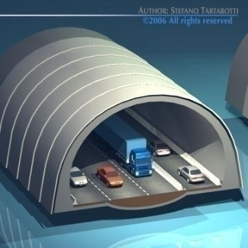 highway tunnels cutaway 3d model 3ds dxf other obj 78351