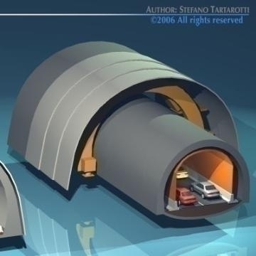 highway tunnels cutaway 3d model 3ds dxf other obj 78352