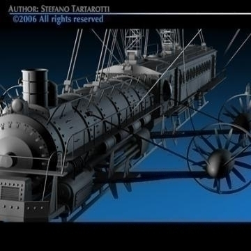 j. verne flying train 3d model 3ds c4d obj 77460