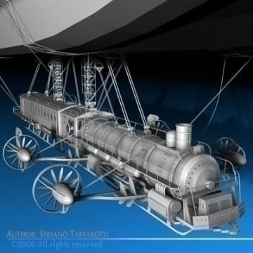 j. verne flying train 3d model 3ds c4d obj 77461