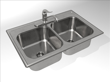 kh004a00 kitchen sink double bowl 3d model max dxf dwg 107461