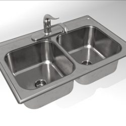 KH004A00 Kitchen Sink Double Bowl 3D Model ( 39.42KB jpg by edawkins )