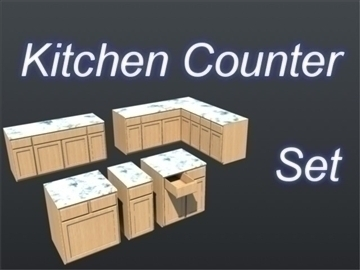 kitchen counter top set 001 3d model 3ds max ma mb 111304