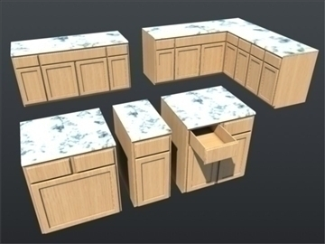 kitchen counter top set 001 3d model 3ds max ma mb 111307
