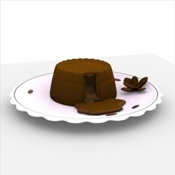 lava cake on plate 3d model fbx lwo obj other 98690
