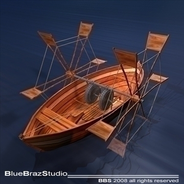 leonardos boat with shovels 3d model 3ds dxf c4d obj 92022