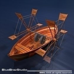 Leonardos boat with shovels ( 86.13KB jpg by braz )