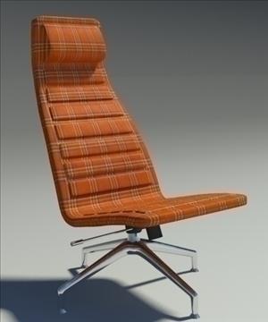lotus simple orange fabric armchair 3d model 3ds max fbx obj 92351