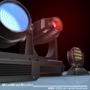 moving heads collection 3d model 3ds dxf c4d obj 96545