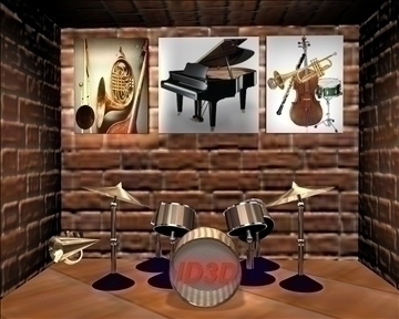 music room 3d model 3ds c4d 3dm texture 101723