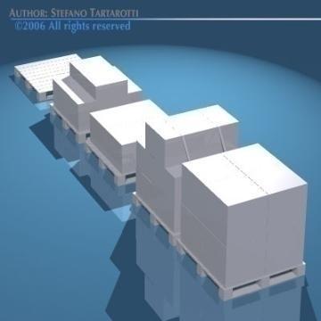pallets with boxes 3d model 3ds dxf obj 78632