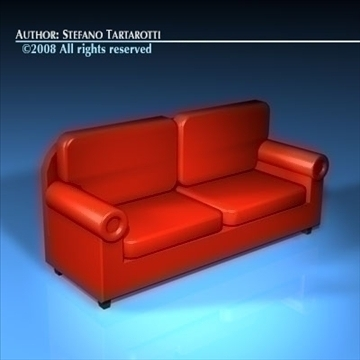 red sofa 3d model 3ds dxf c4d obj 88170